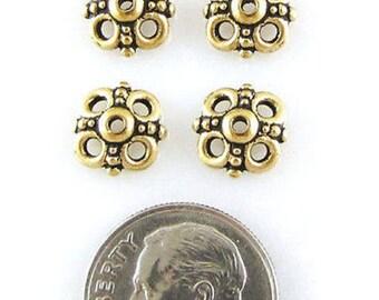 TierraCast Pewter Bead Caps-Antique Gold Clover (4)