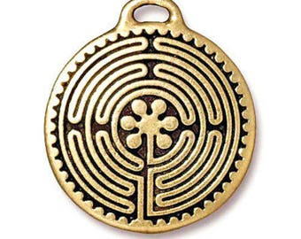 TierraCast Pewter Double Sided Pendant-ANTIQUE GOLD LABYRINTH (1)