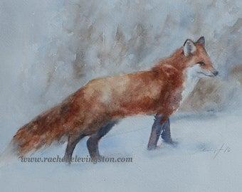 original art original fox painting of fox NEW personalized gift for mom personalized gift for friend gift grandma 8x10 animal watercolor