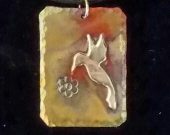 Handmade Copper & Sterling Silver Hummingbird Necklace