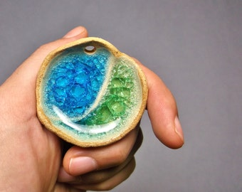 Yin Yang Sparkling Glass Pool Pendant, Ceramic Stoneware with Turquoise Blue and Sea Green Recycled Glass