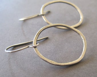 Organic Shape Hoop Earrings, Handmade Jewelry, Everyday Earrings, Fine Silver Earrings, Dangle Earrings