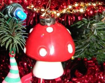 Ceramic Mushroom Ornament RED Amanita muscari Fly    Ornament -  hand made ceramic pottery