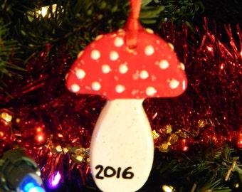 Ceramic Mushroom Ornament RED Amanita muscari Fly 2016 Ornament -  hand made ceramic pottery