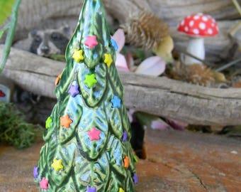 Ceramic Decorated Christmas  Tree Evergreen  Miniature Ceramic  Clay ..terrarium dollhouse  sized  star ornaments