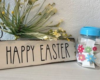 """Happy Easter sign inspired by Rae Dunn  12""""w x 3 1/2""""h hand-painted wood sign,farmhouse style,fixer upper,home decor,white walls decor"""