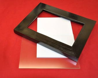 8x10 Picture Frame Black with 5x7 Mat Glass Backing and Mounting Hardware