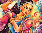 Bollywood dance, Indian woman, Indian decor, Indian classical dance painting, feminine decor, beauty painting, 8x11+