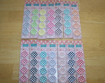 """Riley Blake 4-pack 1"""" round POLKA DOT  Sew Together Carded Buttons Multi-colors"""