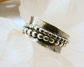 Sterling Silver textured Spinner Ring - Size  5.5 - 6, Sterling Silver Fidget Ring