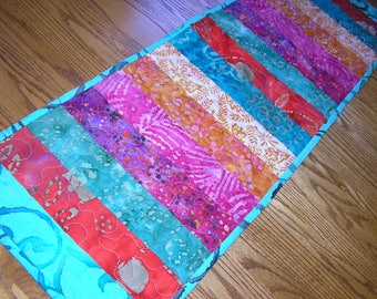 Quilted Table Runner, Batiks Rainbow Stippy Runner, 12 1/2 x 40 1/2 inches