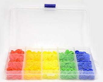 1 Box Flat Round Plastic Snap Buttons/Fasteners - 5 colors/75 snaps total - Mixed Colors