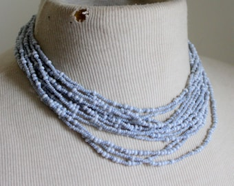 Blue Seed Bead Statement Necklace Vintage Multi strand