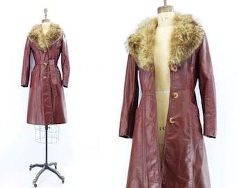 70s Fur Collar Coat Vintage Leather Coat Boho Fur Collar Coat 70s Burgundy Leather Boho Winter Coat Midi Leather Trench Raccoon Fur xs