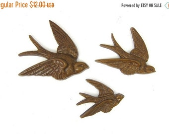 Vintage set of flying birds Three Sparrows Swallows 3 Brown Birds Burwood products Retro Wall Hangings Home Decor