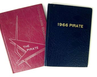 vintage 1960s Yearbooks Oxford Junction Iowa High School The Pirate Year Book 1961 & 1966 Retro Blue and Purple Book Decor