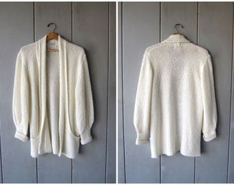 Slouchy White Cardigan Sweater 80s Long Open Cocoon Sweater Coat POCKETS Minimal Duster Vintage Nubby Sweater DES Womens Medium