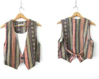 1990s Jean Vest Top Vintage Tribal Pattern Vest Blue Pink Stripe Print 1980s Denim Preppy Layer Tank Vest Women's Size Medium