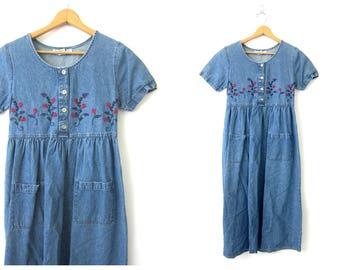 Long Blue Denim Dress Floral Embroidered Jean Dress Vintage Boho Short Sleeve Denim Dress Hipster Preppy Spring Women's Size 8 Medium