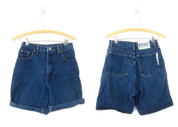 vintage denim shorts 90s jean shorts Dark Blue ENUF denim shorts 1990s Casual Hipster summer Shorts womens 9 Medium Dell's