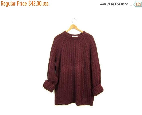 Wool Cotton Fishermans Sweater Cable Knit Jumper JCrew 90s Chunky Wool Pullover Dark Red Maroon Boho Sweater Top Womens Large