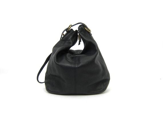 Supple Black Leather Purse Long Shoulder Strap Bag 90s Boho Quality Slouch Bag Vintage Medium Sized Purse