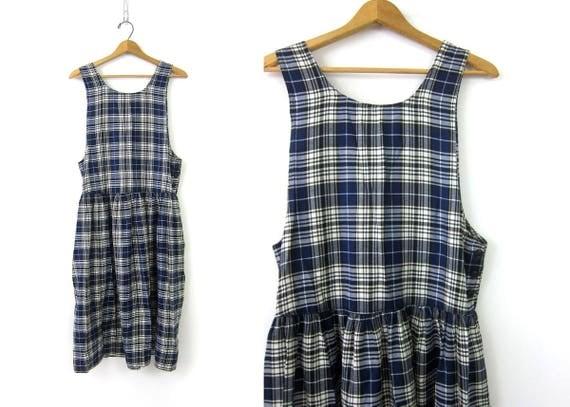 80s Plaid FORENZA Dress Blue & White Sundress Preppy Vintage Midi Dress Jumper Sleeveless Open Bust Dress Womens Size XS