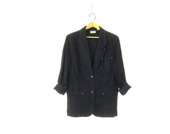 Vintage Black Jean Jacket Blazer Denim Coat Long Layering Spring Jacket Casual Chic Suit Coat Street Style Women Size 12 Medium Large