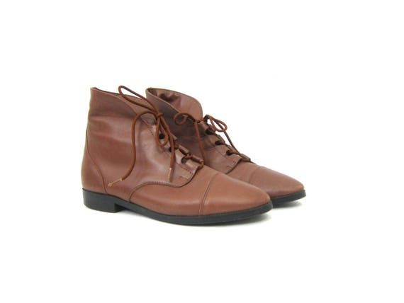 Brown Leather ankle boots Vintage Shoe boots Preppy Hipster Fold Over Pippi booties Lace Up Shoes Retro Women's Shoes Size 8