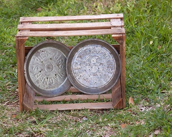 Two Vintage Pie Tins Mrs. Smith's Mello-Rich Pie Mrs. Wagner's Pies Bakery Rustic County Kitchen Decor