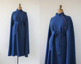 RESERVED vintage 1970s cape / 70s blue wool cape coat / jimmy hourihan of dublin cape / full length cape coat / belted cape / medium large x