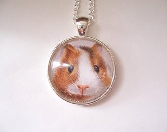 Guinea Pig Necklace, Silver pendant Guinea Pig Jewelry, Pet Guinea Pig gift, Original Drawing, Miniature Art Pendant Necklace
