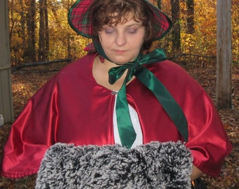 Christmas Dickens caplet red satin self lined ready to ship Victorian Christmas Carolers Beautiful cape