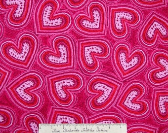 Knitty Kitty Fabric - Yarn Hearts Packed Pink - Benartex Kanvas Studio YARD