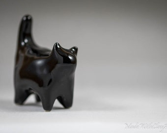 Pottery Kitty Cat - Miniature Ceramic Porcelain Clay Animal Glossy Black Sculpture Decorative Home Decor Ornament - Terrarium Figurine
