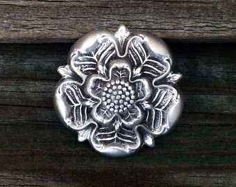 Tudor Rose Pewter Brooch Pin | Tudor Rose | English | Heraldry | Rose | Handcrafted Jewelry | Treasure Cast Pewter