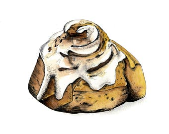 Cinnamon Rolls, Watercolor Dessert, Dessert Paintings, Bakery Decor, Dessert Decor, Dessert Art, Wall Art Desert, Wall Art Prints, Wall Art
