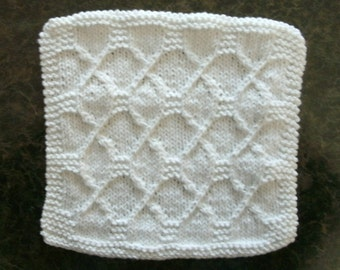 Hand Knit White Dishcloth - measures approximately 9x9 inches