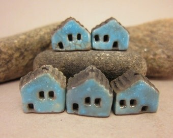 5 Saggar Fired Miniature House Beads... Turquoise Blue