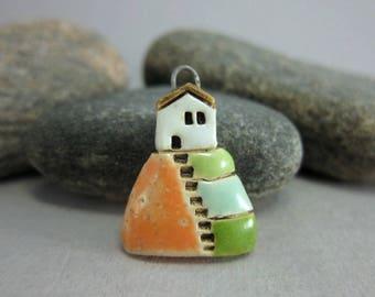Hilltop Cottage...Stoneware Pendant