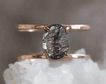Tourmaline in Quartz Cage Ring