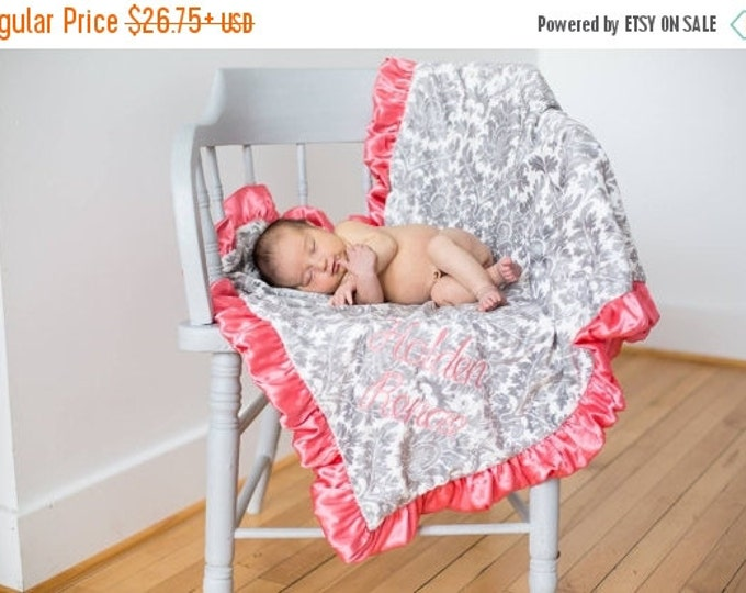 SALE Coral and Gray Damask Minky Baby Blanket - for baby toddler or adult Can Be Personalized