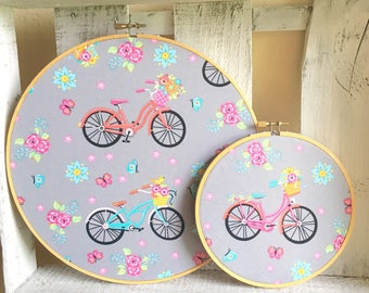 Vintage Inspired Embroidery Hoop Framed Colorful Bicycle and Floral Fabric Wall Hangings
