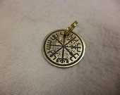 Etched Brass Viking compass Charm