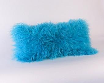 Mongolian Fur Pillow ~ Blue Fur Pillow ~ Genuine Mongolian Lamb ~ Turquoise Mongolian Accent Pillow ~ Blue Pillow ~ Mongolian Lumbar Pillow