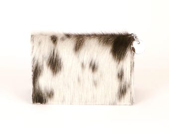 Black and White Leather Wallet - Hair on Hide Card Case - Foldover Wallet - Small Leather Wallet - Black and White Wallet - Brazilian Wallet