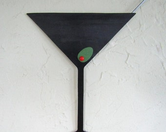 Martini metal wall art sculpture kitchen art upcycled metal wall bar dining room cocktails party wall art 10 x 13