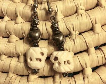 Hand Carved Elephant Dangle Earrings