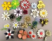 Lot of 26 Vintage 1960s Flower Pins - Big, Enameled, Colorful
