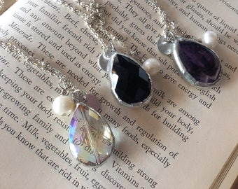 Initial Crystal Pendant Necklace